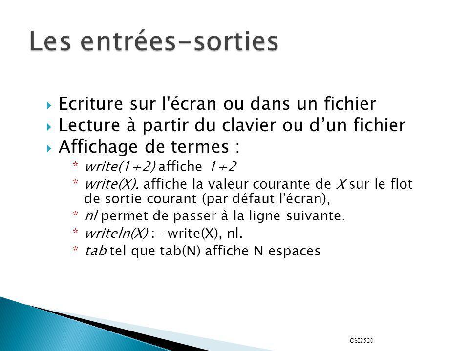 CSI2520 Affichage de termes (suite) : *display/1 agit comme write/1 mais en affichant la représentation sous forme darbre *Ex : write(3+4), nl, display(3+4), nl.