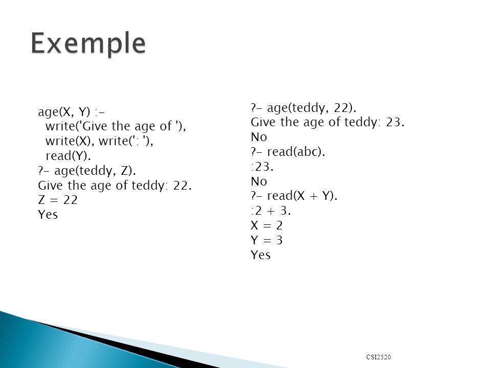 CSI2520 Comme en programmation fonctionnelle, la liste est une structure de donnée de base : [1, 2, 3, 4] [] la liste vide ; [Head | Tail] la tete et le reste de la liste ; [1, 2, trois ] une liste de 3 éléments ; [1, 2 | Tail] une liste dau moins deux éléments.
