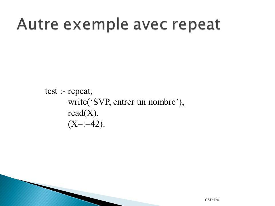 CSI2520 test :- repeat, write(SVP, entrer un nombre), read(X), (X=:=42).