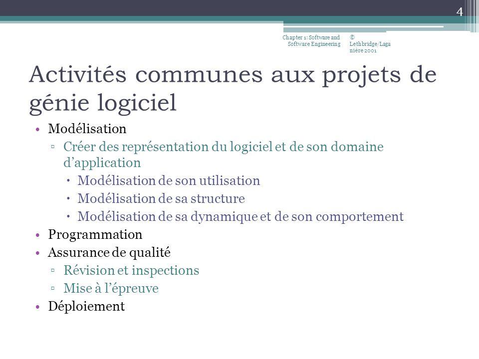 Activités communes aux projets de génie logiciel Modélisation Créer des représentation du logiciel et de son domaine dapplication Modélisation de son