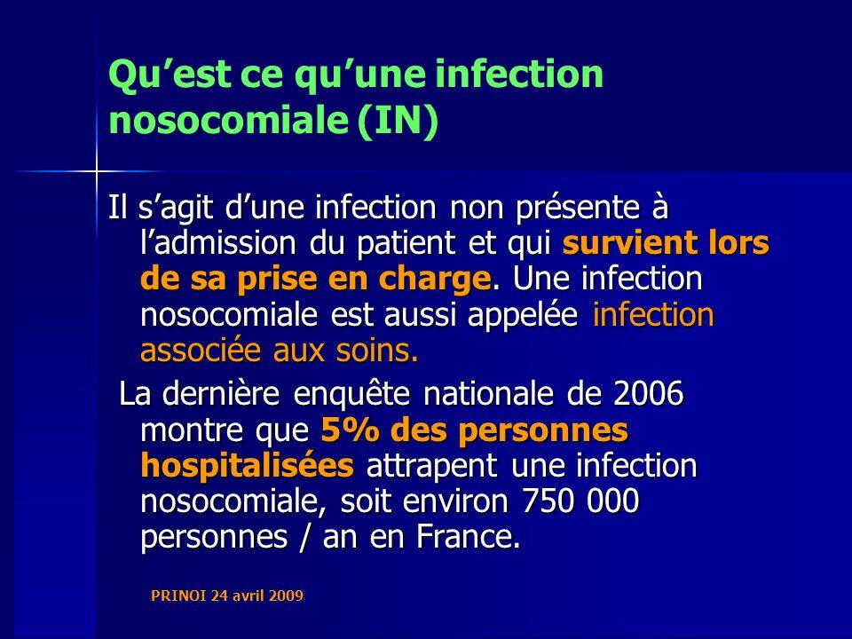 Quest ce quune infection nosocomiale (IN) Il sagit dune infection non présente à ladmission du patient et qui survient lors de sa prise en charge.
