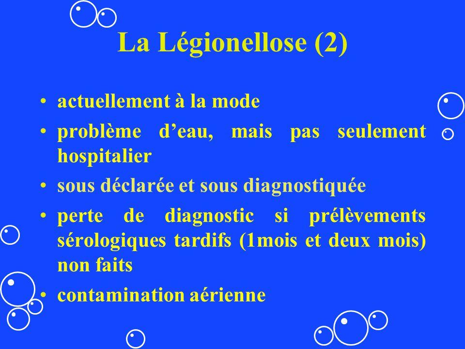 La Légionellose (2) actuellement à la mode problème deau, mais pas seulement hospitalier sous déclarée et sous diagnostiquée perte de diagnostic si pr