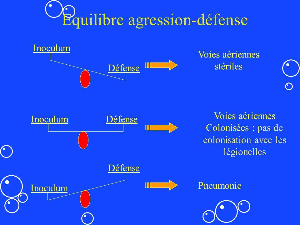 Equilibre agression-défense Inoculum Défense Voies aériennes stériles InoculumDéfense Voies aériennes Colonisées : pas de colonisation avec les légion