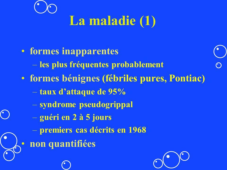 La maladie (1) formes inapparentes –les plus fréquentes probablement formes bénignes (fébriles pures, Pontiac) –taux dattaque de 95% –syndrome pseudog