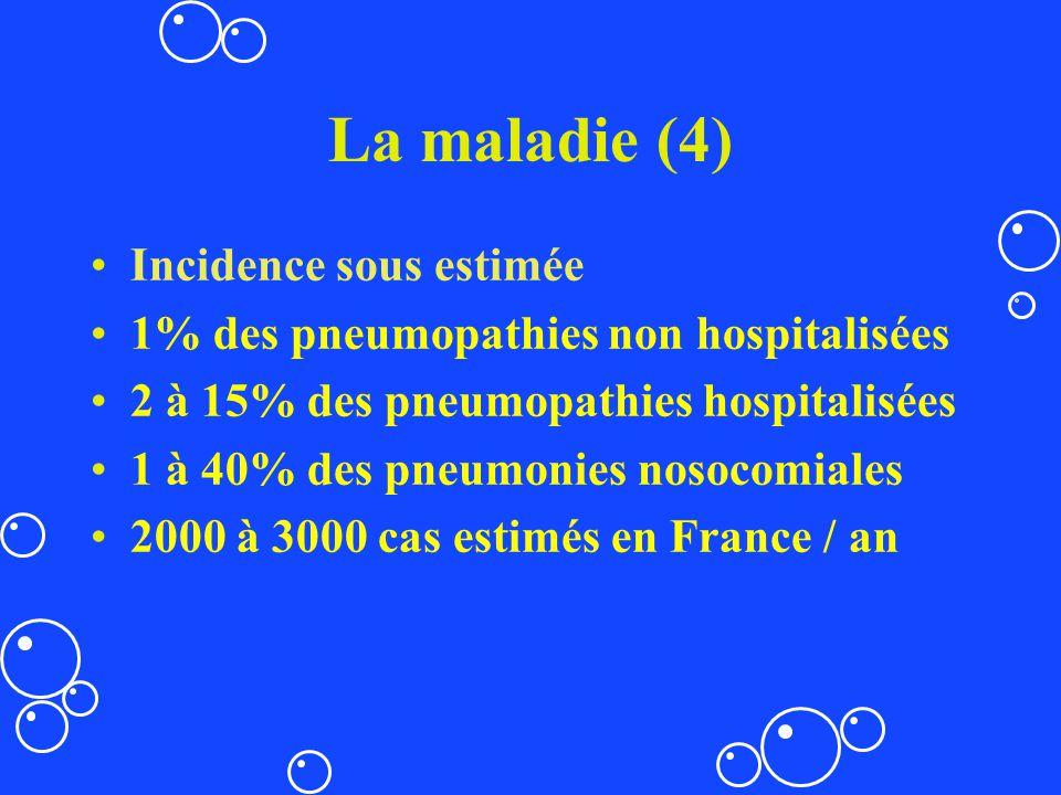 La maladie (4) Incidence sous estimée 1% des pneumopathies non hospitalisées 2 à 15% des pneumopathies hospitalisées 1 à 40% des pneumonies nosocomial