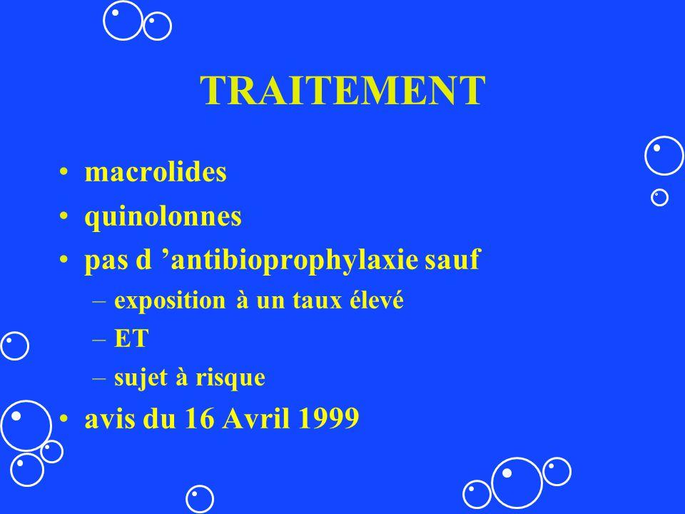 TRAITEMENT macrolides quinolonnes pas d antibioprophylaxie sauf –exposition à un taux élevé –ET –sujet à risque avis du 16 Avril 1999
