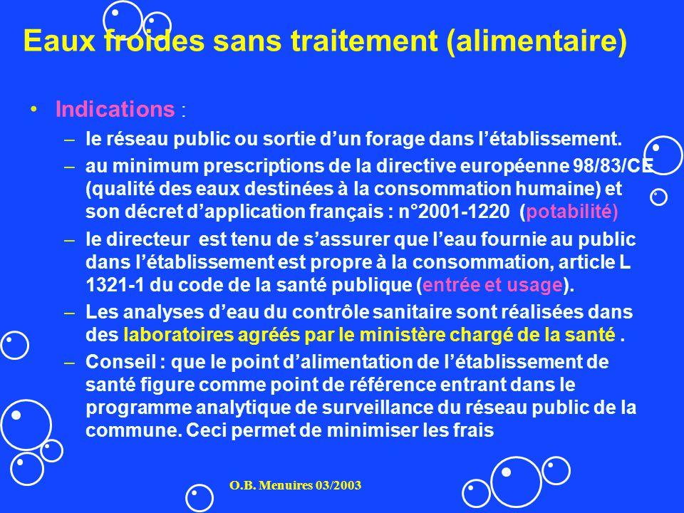 Eaux froides sans traitement (alimentaire) O.B. Menuires 03/2003 Indications : –le réseau public ou sortie dun forage dans létablissement. –au minimum