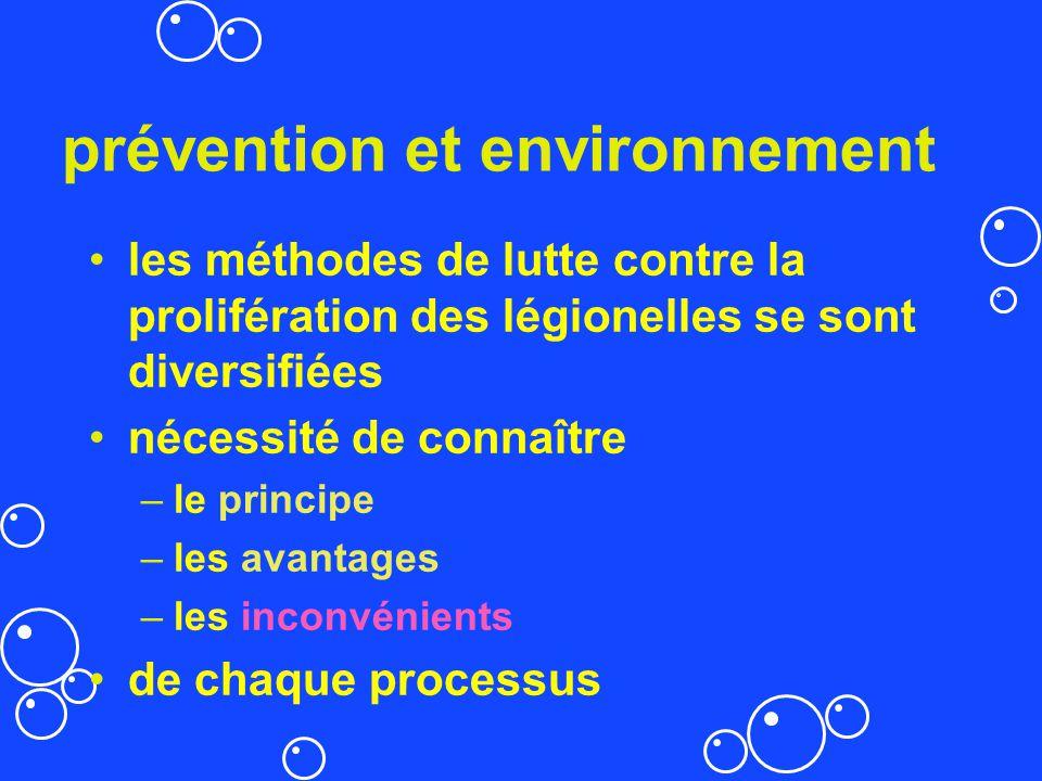 prévention et environnement les méthodes de lutte contre la prolifération des légionelles se sont diversifiées nécessité de connaître –le principe –le