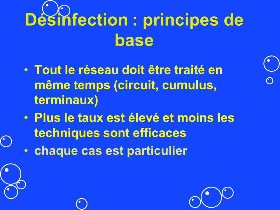Désinfection : principes de base Tout le réseau doit être traité en même temps (circuit, cumulus, terminaux) Plus le taux est élevé et moins les techn