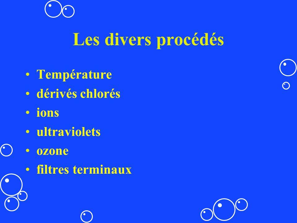 Les divers procédés Température dérivés chlorés ions ultraviolets ozone filtres terminaux