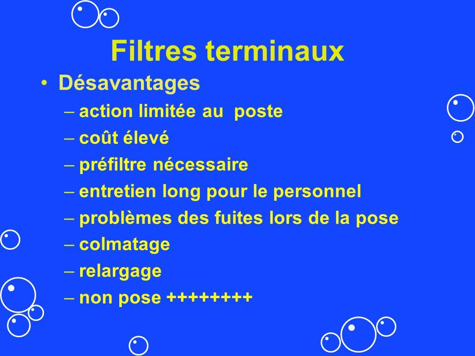 Filtres terminaux Désavantages –action limitée au poste –coût élevé –préfiltre nécessaire –entretien long pour le personnel –problèmes des fuites lors
