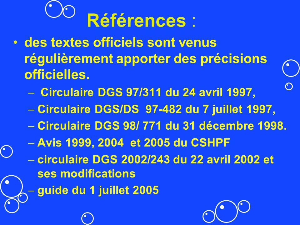 Références : des textes officiels sont venus régulièrement apporter des précisions officielles. – Circulaire DGS 97/311 du 24 avril 1997, –Circulaire