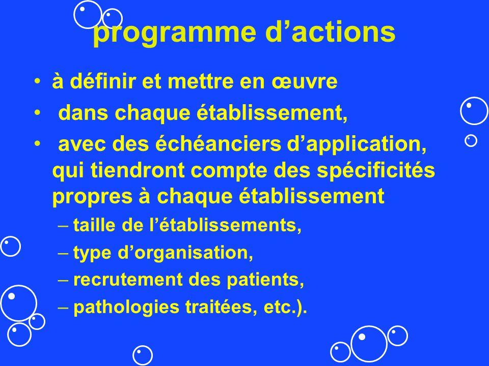 programme dactions à définir et mettre en œuvre dans chaque établissement, avec des échéanciers dapplication, qui tiendront compte des spécificités pr