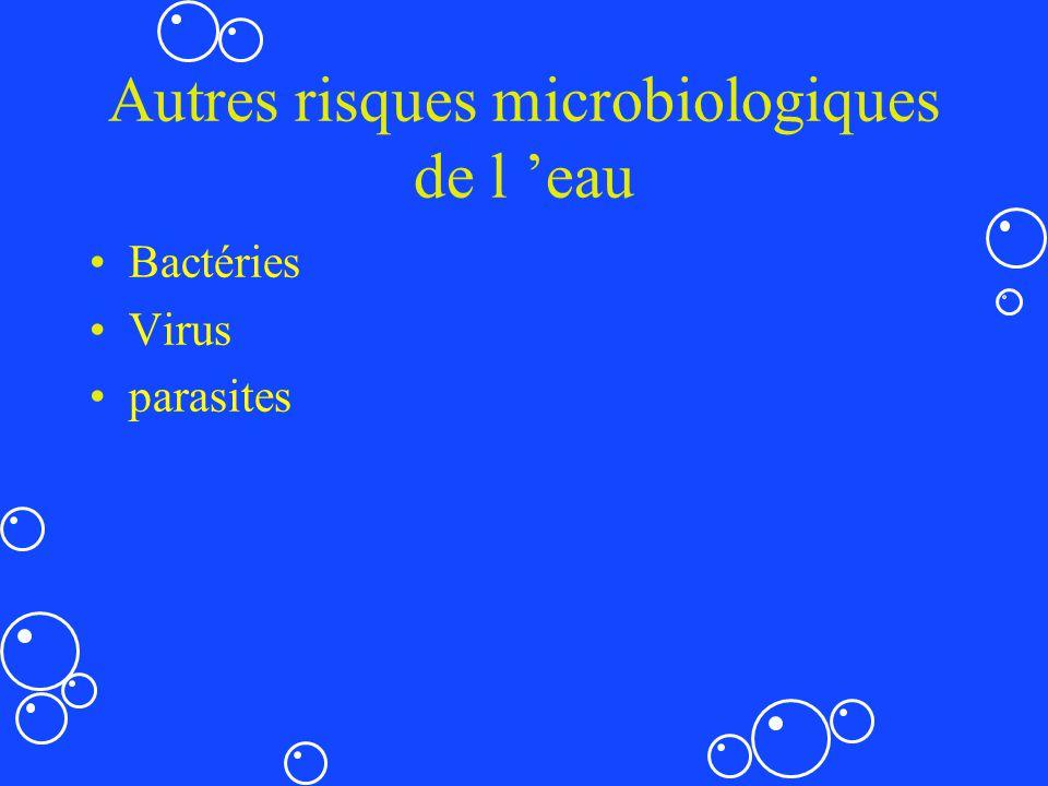 Autres risques microbiologiques de l eau Bactéries Virus parasites