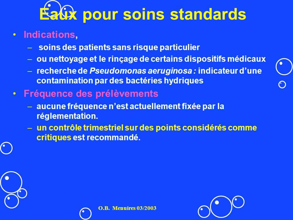Eaux pour soins standards Indications, – soins des patients sans risque particulier –ou nettoyage et le rinçage de certains dispositifs médicaux –rech