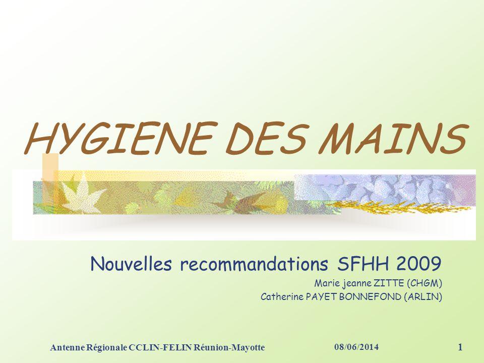08/06/2014 Antenne Régionale CCLIN-FELIN Réunion-Mayotte 1 HYGIENE DES MAINS Nouvelles recommandations SFHH 2009 Marie jeanne ZITTE (CHGM) Catherine PAYET BONNEFOND (ARLIN)