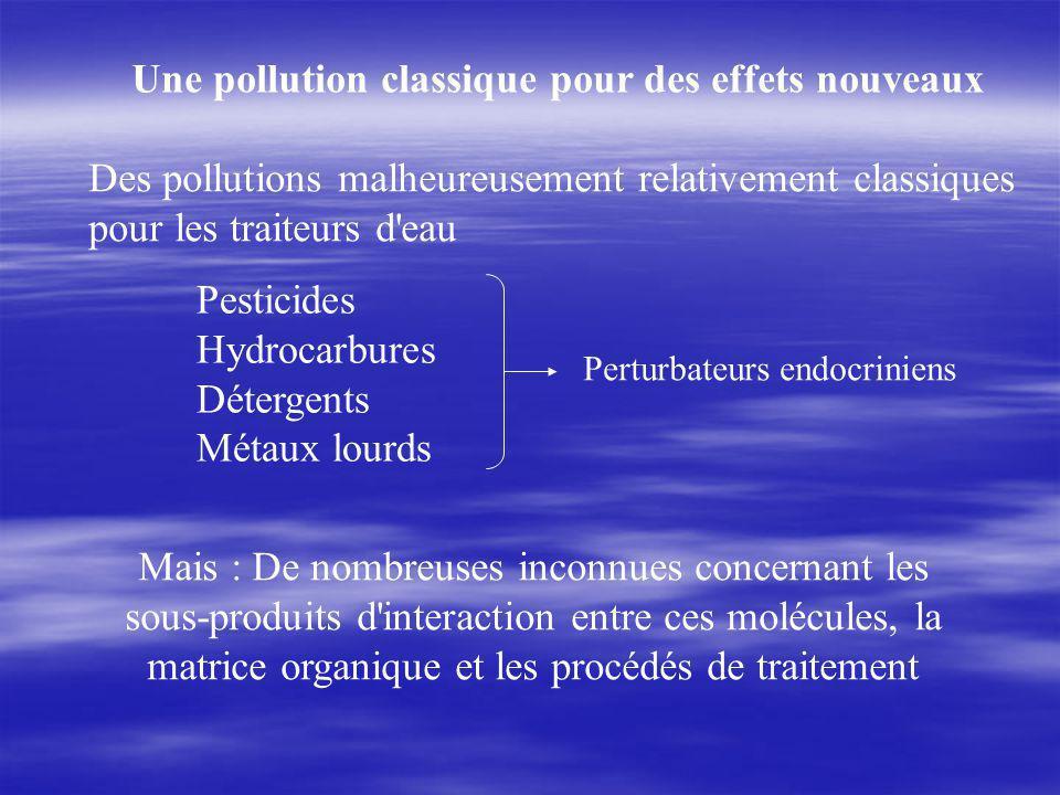 Des pollutions malheureusement relativement classiques pour les traiteurs d eau Pesticides Hydrocarbures Détergents Métaux lourds Mais : De nombreuses inconnues concernant les sous-produits d interaction entre ces molécules, la matrice organique et les procédés de traitement Une pollution classique pour des effets nouveaux Perturbateurs endocriniens