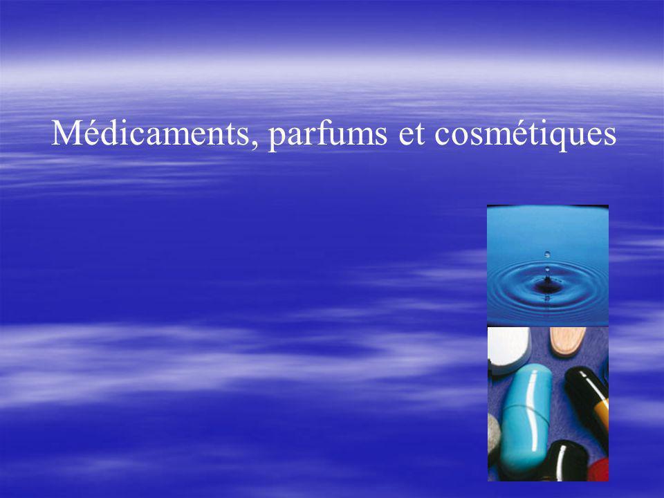 Médicaments, parfums et cosmétiques