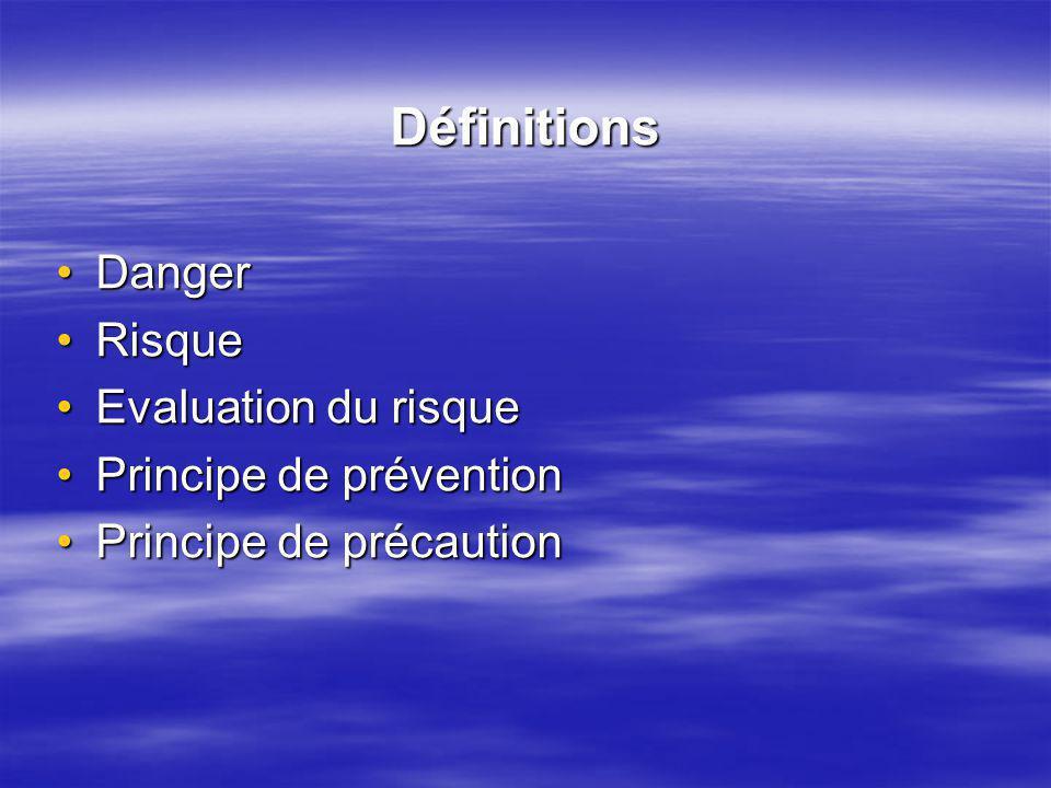 Définitions DangerDanger RisqueRisque Evaluation du risqueEvaluation du risque Principe de préventionPrincipe de prévention Principe de précautionPrincipe de précaution