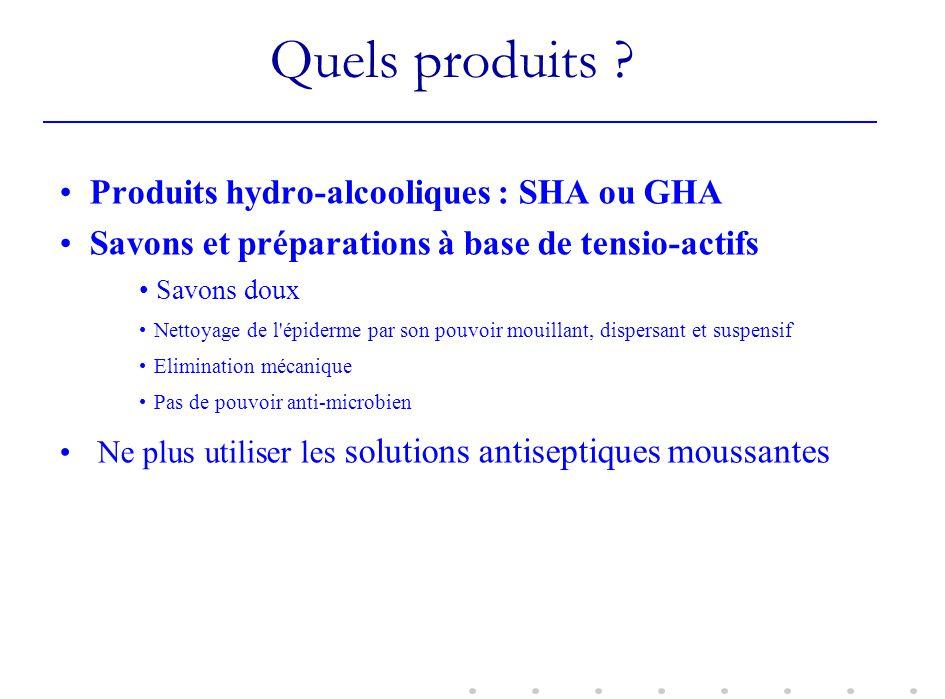 Quels produits ? Produits hydro-alcooliques : SHA ou GHA Savons et préparations à base de tensio-actifs Savons doux Nettoyage de l'épiderme par son po