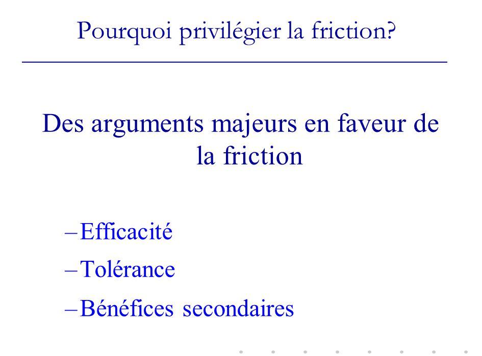 Pourquoi privilégier la friction? Des arguments majeurs en faveur de la friction –Efficacité –Tolérance –Bénéfices secondaires