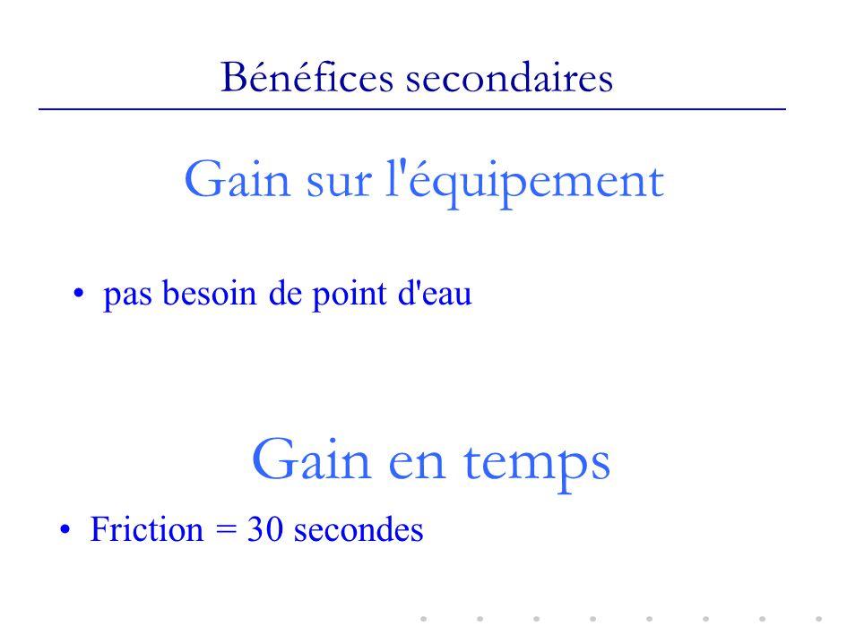 Gain sur l'équipement pas besoin de point d'eau Bénéfices secondaires Gain en temps Friction = 30 secondes