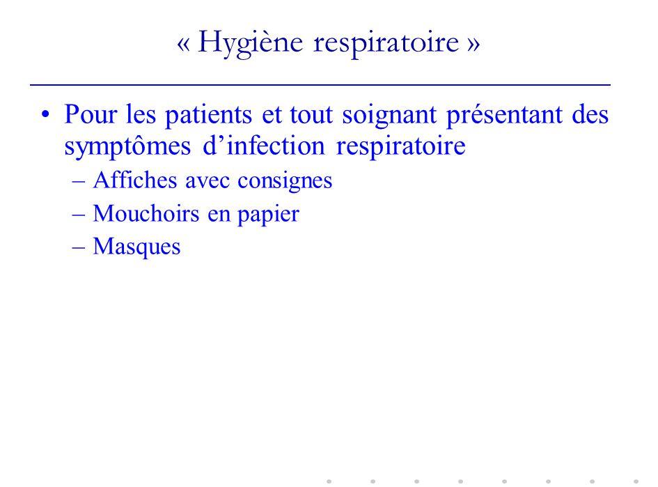 « Hygiène respiratoire » Pour les patients et tout soignant présentant des symptômes dinfection respiratoire –Affiches avec consignes –Mouchoirs en pa