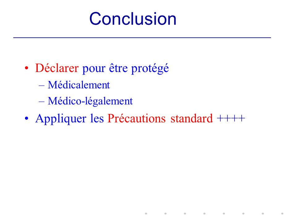 Conclusion Déclarer pour être protégé –Médicalement –Médico-légalement Appliquer les Précautions standard ++++