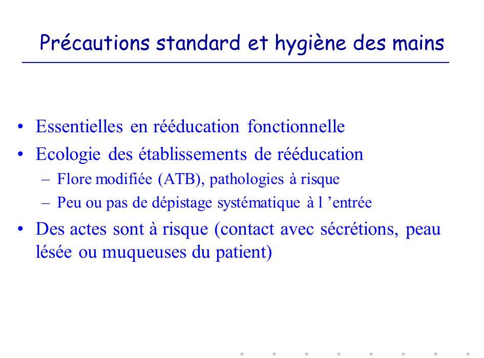 Précautions standard et hygiène des mains Essentielles en rééducation fonctionnelle Ecologie des établissements de rééducation –Flore modifiée (ATB),