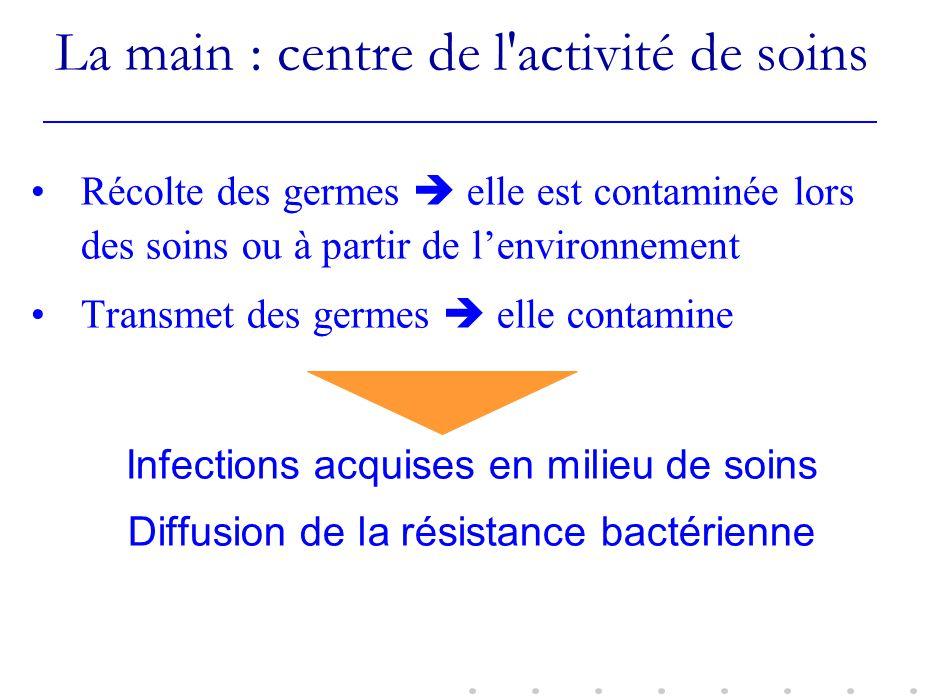 La main : centre de l'activité de soins Récolte des germes elle est contaminée lors des soins ou à partir de lenvironnement Transmet des germes elle c