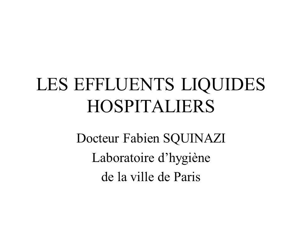 LES EFFLUENTS LIQUIDES HOSPITALIERS Docteur Fabien SQUINAZI Laboratoire dhygiène de la ville de Paris