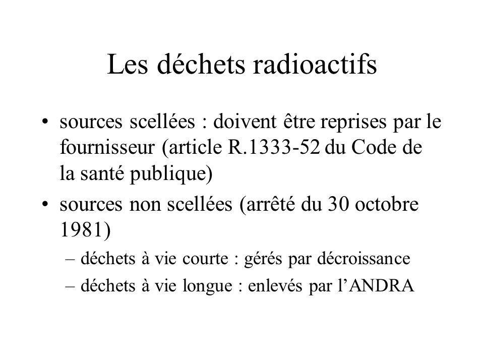 Les déchets radioactifs sources scellées : doivent être reprises par le fournisseur (article R.1333-52 du Code de la santé publique) sources non scellées (arrêté du 30 octobre 1981) –déchets à vie courte : gérés par décroissance –déchets à vie longue : enlevés par lANDRA
