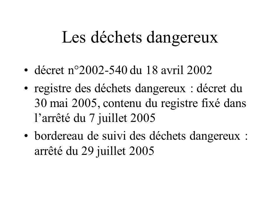 Les déchets dangereux décret n°2002-540 du 18 avril 2002 registre des déchets dangereux : décret du 30 mai 2005, contenu du registre fixé dans larrêté du 7 juillet 2005 bordereau de suivi des déchets dangereux : arrêté du 29 juillet 2005