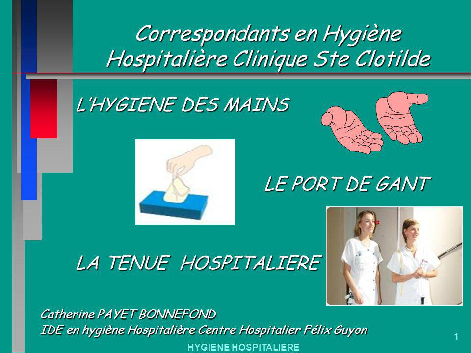 HYGIENE HOSPITALIERE 1 Correspondants en Hygiène Hospitalière Clinique Ste Clotilde Catherine PAYET BONNEFOND IDE en hygiène Hospitalière Centre Hospi
