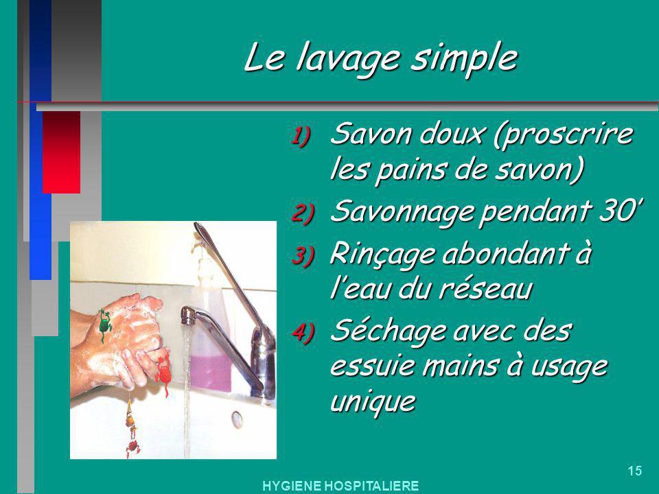 HYGIENE HOSPITALIERE 15 Le lavage simple 1) Savon doux (proscrire les pains de savon) 2) Savonnage pendant 30 3) Rinçage abondant à leau du réseau 4)