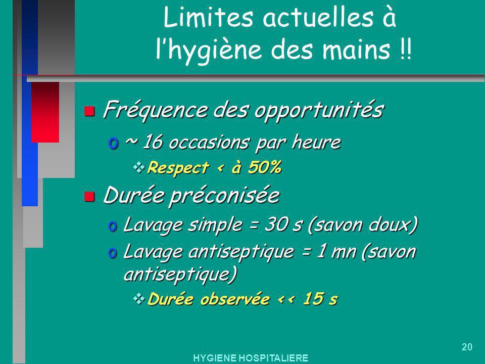 HYGIENE HOSPITALIERE 20 Limites actuelles à lhygiène des mains !! n Fréquence des opportunités o~ 16 occasions par heure Respect < à 50% Respect < à 5