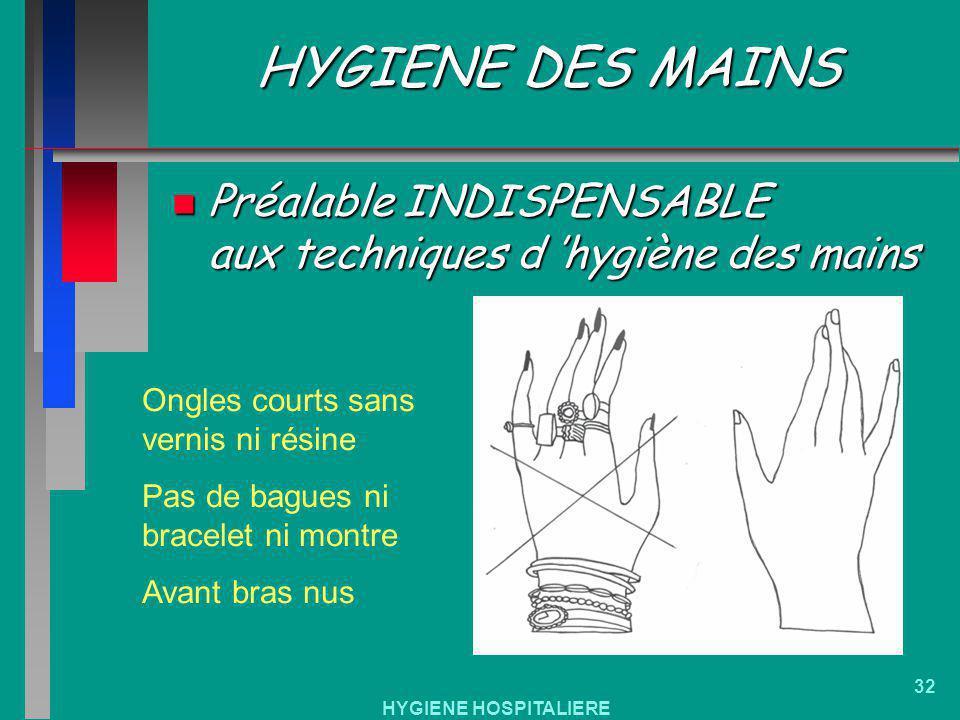 HYGIENE HOSPITALIERE 32 HYGIENE DES MAINS n Préalable INDISPENSABLE aux techniques d hygiène des mains Ongles courts sans vernis ni résine Pas de bagu