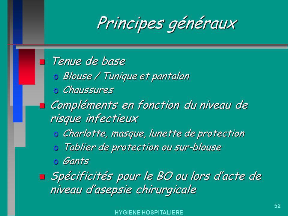 HYGIENE HOSPITALIERE 52 Principes généraux n Tenue de base oBlouse / Tunique et pantalon oChaussures n Compléments en fonction du niveau de risque inf
