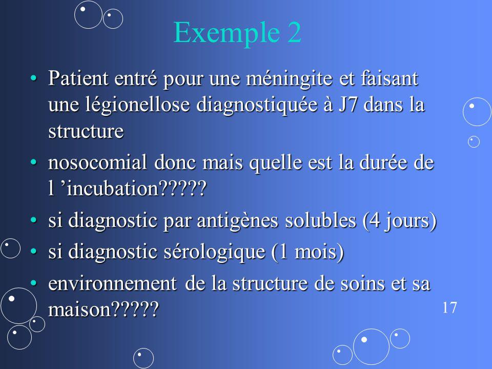17 Exemple 2 Patient entré pour une méningite et faisant une légionellose diagnostiquée à J7 dans la structurePatient entré pour une méningite et faisant une légionellose diagnostiquée à J7 dans la structure nosocomial donc mais quelle est la durée de l incubation nosocomial donc mais quelle est la durée de l incubation .