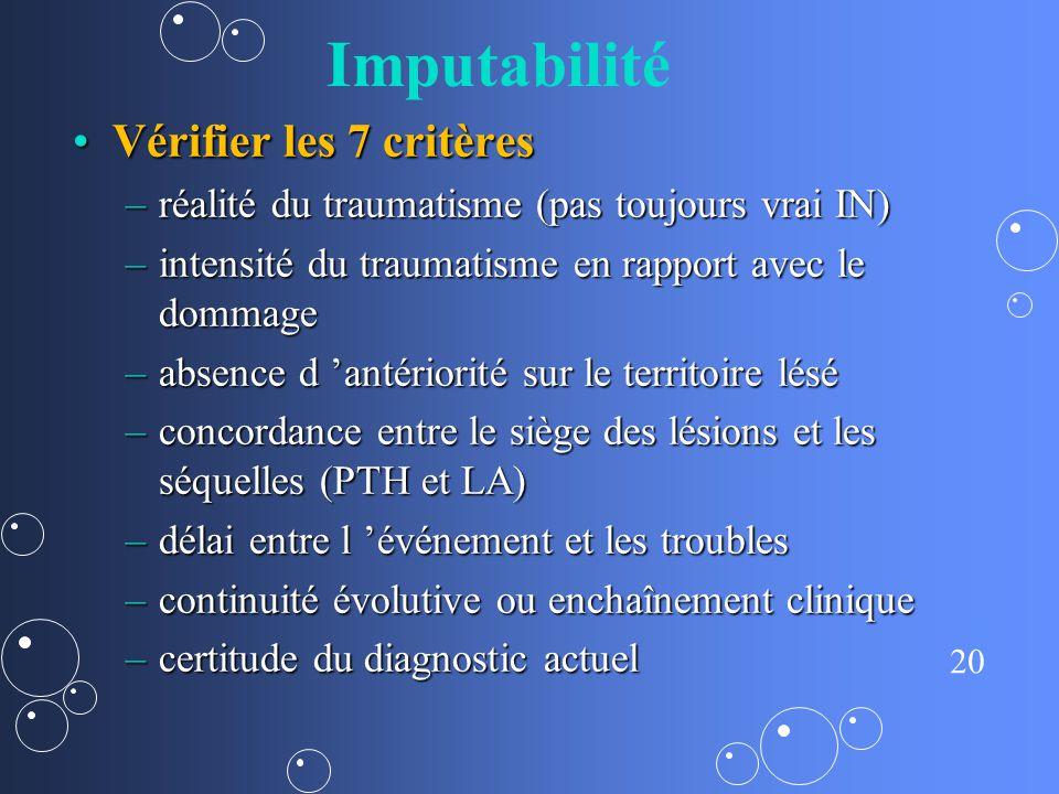 20 Imputabilité Vérifier les 7 critèresVérifier les 7 critères –réalité du traumatisme (pas toujours vrai IN) –intensité du traumatisme en rapport ave