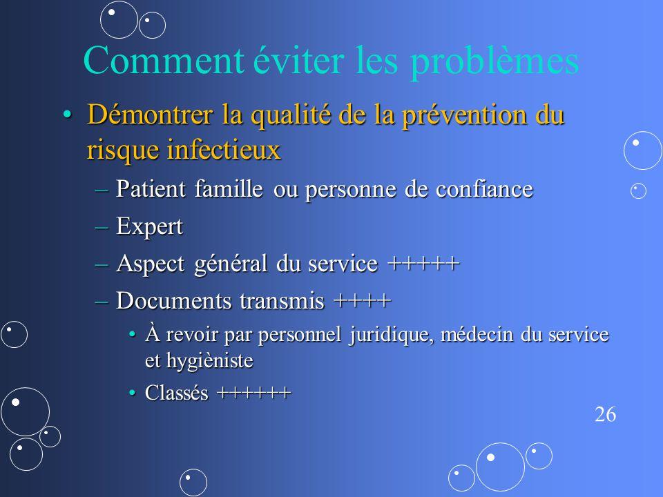 26 Comment éviter les problèmes Démontrer la qualité de la prévention du risque infectieuxDémontrer la qualité de la prévention du risque infectieux –