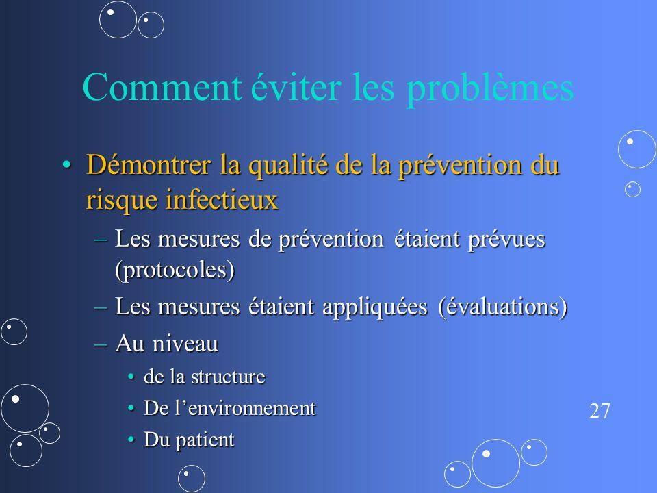27 Comment éviter les problèmes Démontrer la qualité de la prévention du risque infectieuxDémontrer la qualité de la prévention du risque infectieux –