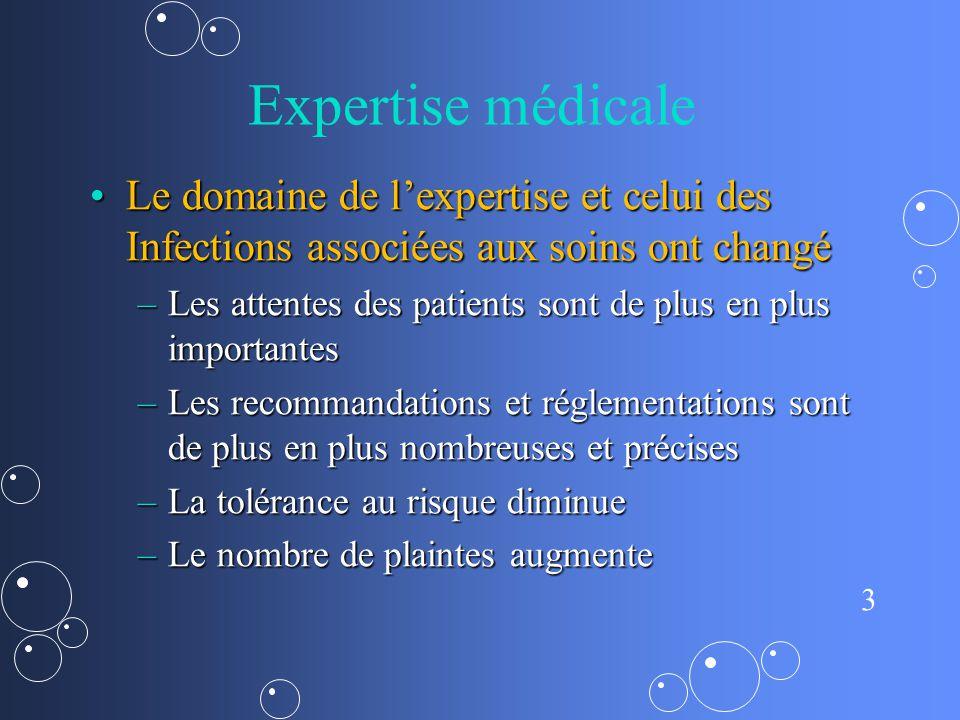 3 Expertise médicale Le domaine de lexpertise et celui des Infections associées aux soins ont changéLe domaine de lexpertise et celui des Infections a