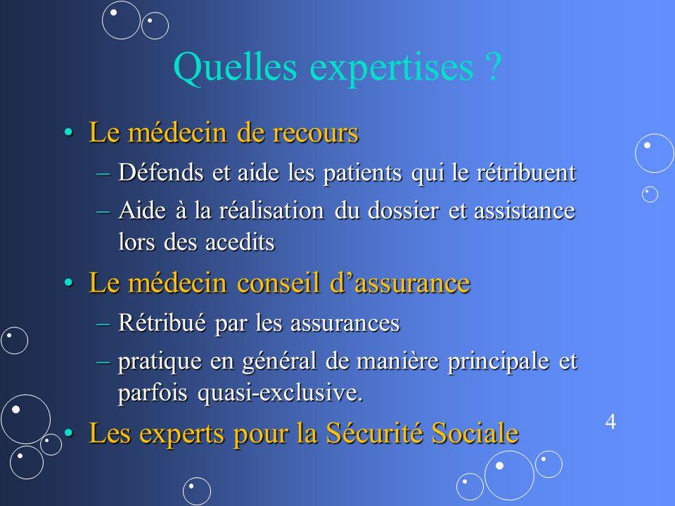 4 Quelles expertises ? Le médecin de recoursLe médecin de recours –Défends et aide les patients qui le rétribuent –Aide à la réalisation du dossier et