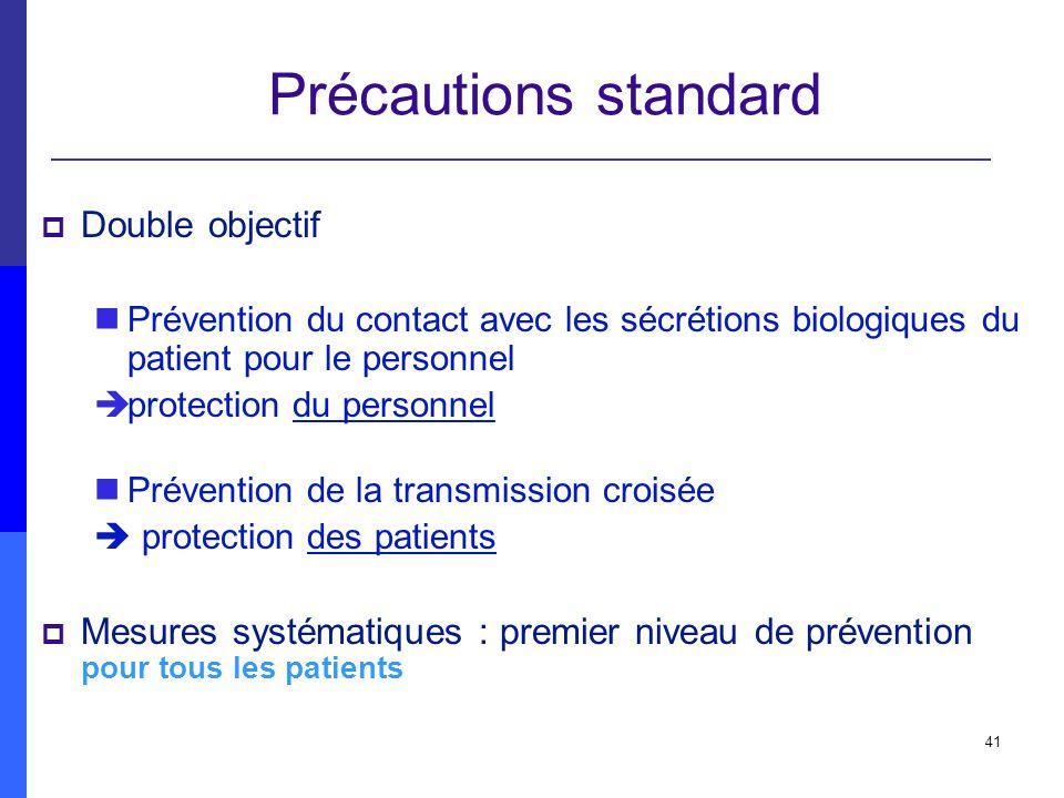41 Précautions standard Double objectif Prévention du contact avec les sécrétions biologiques du patient pour le personnel èprotection du personnel Pr