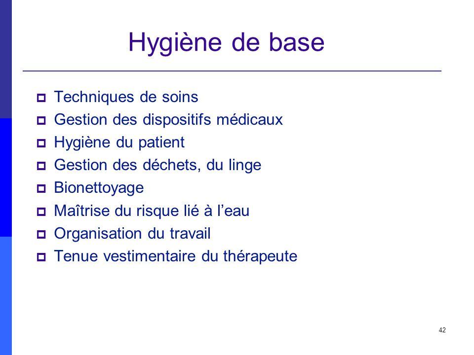 42 Hygiène de base Techniques de soins Gestion des dispositifs médicaux Hygiène du patient Gestion des déchets, du linge Bionettoyage Maîtrise du risq