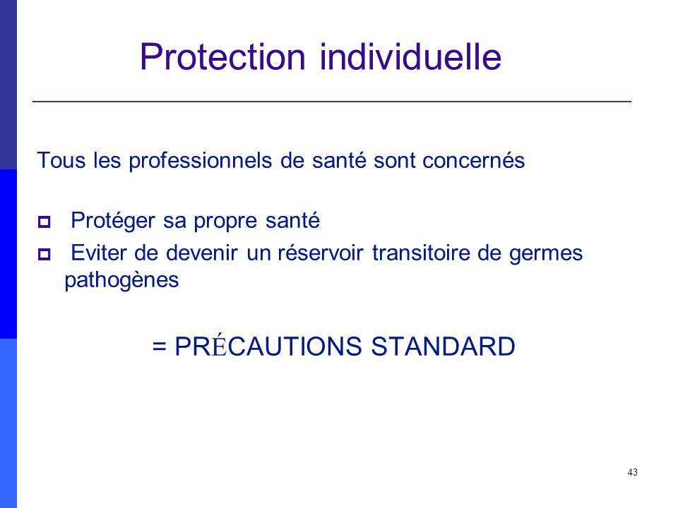 43 Protection individuelle Tous les professionnels de santé sont concernés Protéger sa propre santé Eviter de devenir un réservoir transitoire de germ