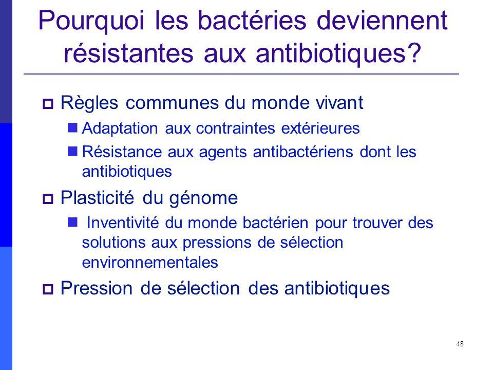 48 Pourquoi les bactéries deviennent résistantes aux antibiotiques? Règles communes du monde vivant Adaptation aux contraintes extérieures Résistance