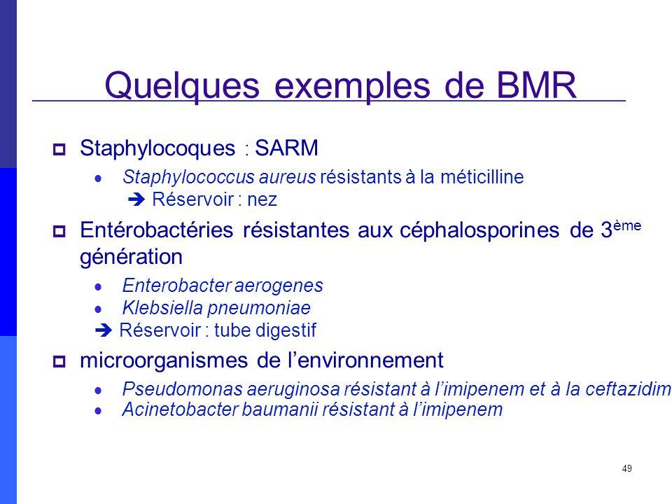 49 Quelques exemples de BMR Staphylocoques : SARM Staphylococcus aureus résistants à la méticilline Réservoir : nez Entérobactéries résistantes aux cé