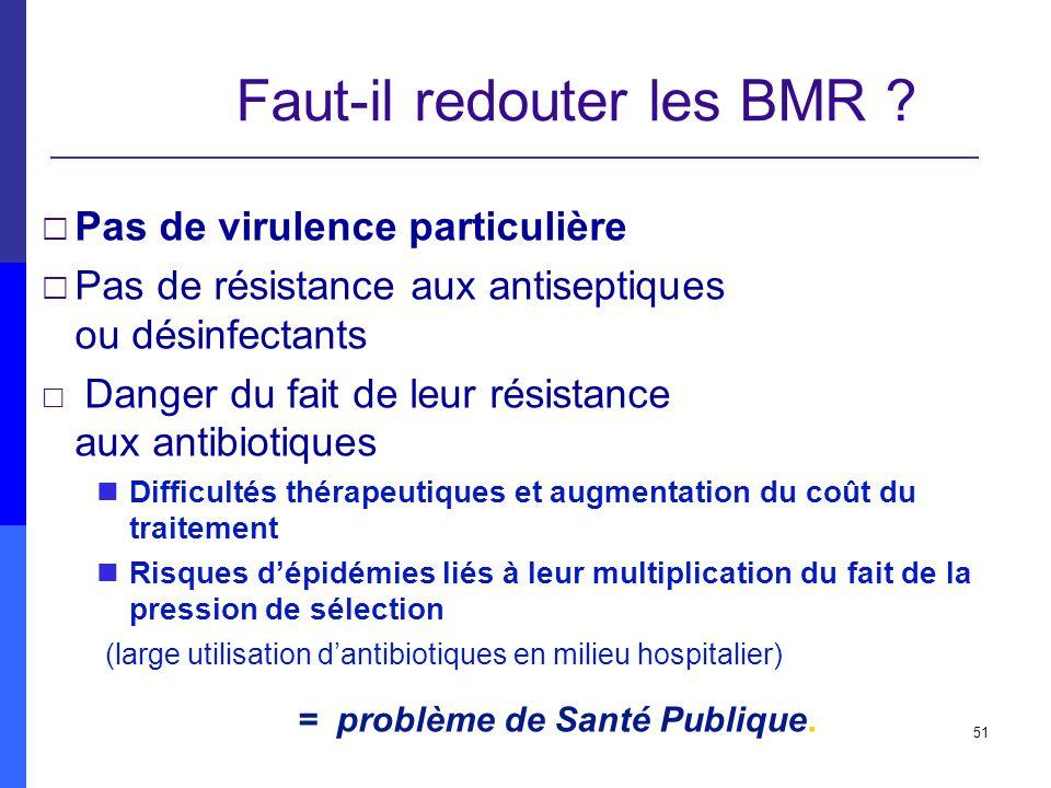 51 Faut-il redouter les BMR ? Pas de virulence particulière Pas de résistance aux antiseptiques ou désinfectants Danger du fait de leur résistance aux